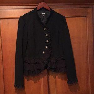 Beautiful stylish jacket military style w/ruffles!